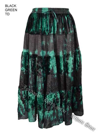 Dark Star Plus Size Long Green & Black Velvet Jacquard Satin Skirt