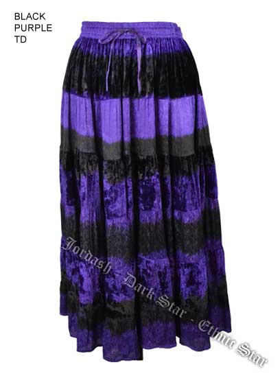 Dark Star Plus Size Long Purple & Black Velvet Jacquard Satin Skirt