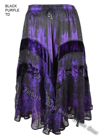 Dark Star Plus Size Long Purple & Black Jacquard Satin Embroidered Georgette  Skirt