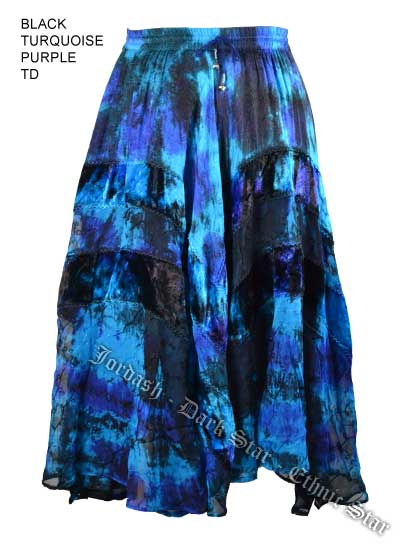 Dark Star Plus Size Long Black Turquoise & Purple Jacquard Satin Embroidered Georgette  Skirt