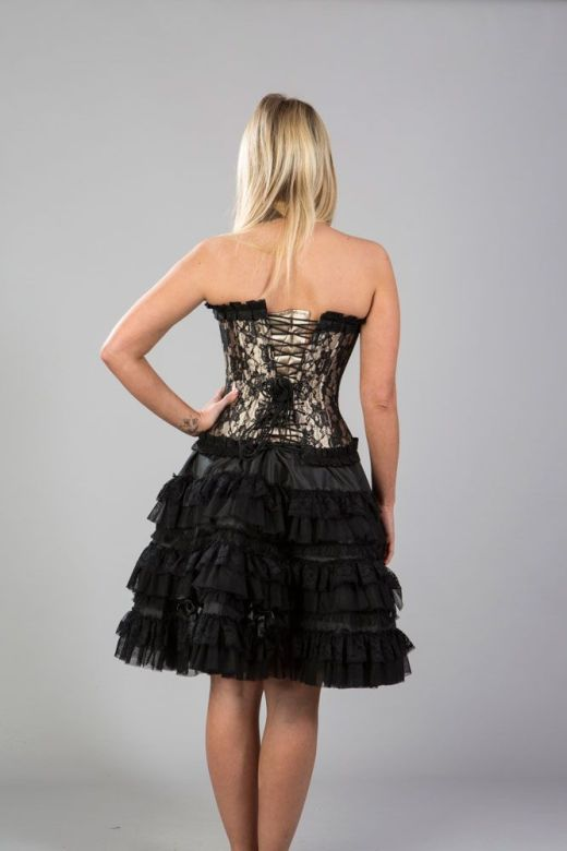 78522dc874a ... Burleska Plus Size Lolita Black Taffeta Gothic Knee Length Burlesque  Skirt