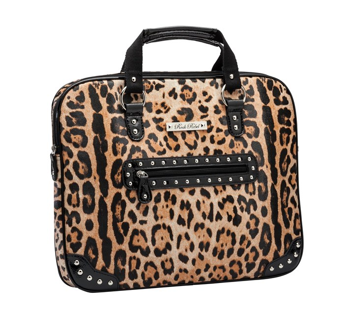 Rock Rebel Gold Orange and Black Leopard Media Bag Laptop Case