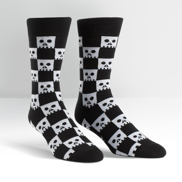 Plus Size or Men's Black and White Checkered Skull Wide Curvy Crew Socks