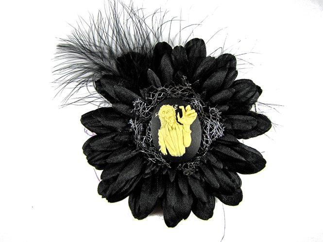 Nick's Bows Black & Black Feather w Haunted Mansion Cameo Edgar Allen Poe Hair Clip