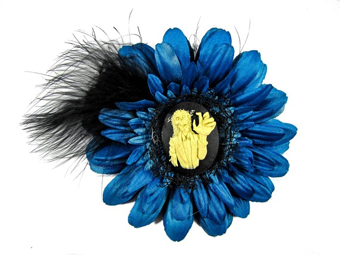 Nick's Bows Blue & Black Feather w Haunted Mansion Cameo Edgar Allen Poe Hair Clip