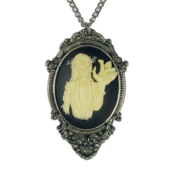 Gothic Zombie Cameo Ivory on Black in Victorian Frame Pewter Necklace