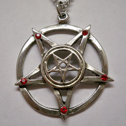Double Inverted Pentagram w Red Stones Necklace