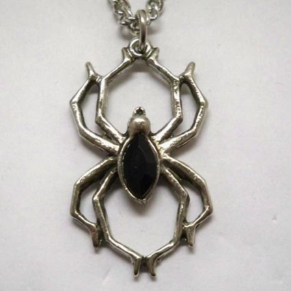 Spider w Black Stone Necklace