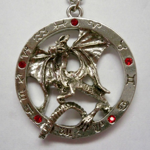 Dragon in Zodiac Circle w Red Stones Necklace
