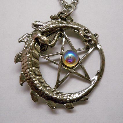 Dragon Encircling Pentacle Necklace w Aurora Borealis Jewel
