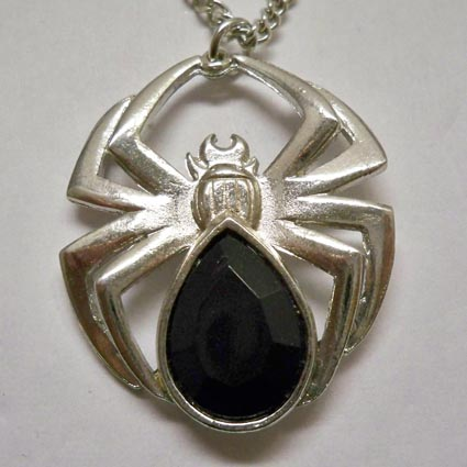 Polished Spider with Black Stone Necklace