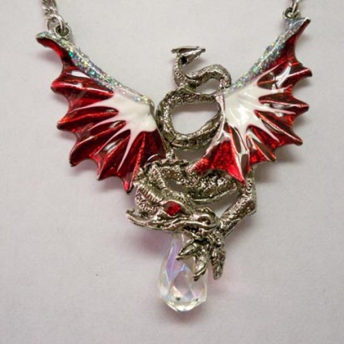 Crimson & White Hand Painted Dragon Holding Crystal Necklace