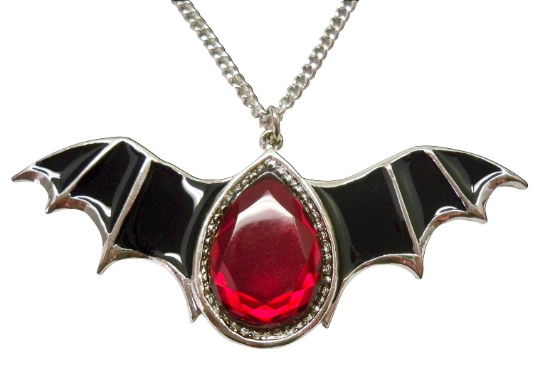 Gothic Black Epoxy Wings and Blood Stone Pewter Necklace