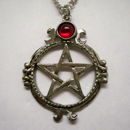 Pentacle w Red Stone Necklace