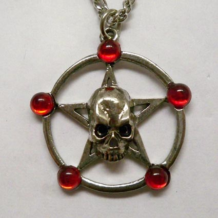 Skull Pentacle w Red Stones Necklace