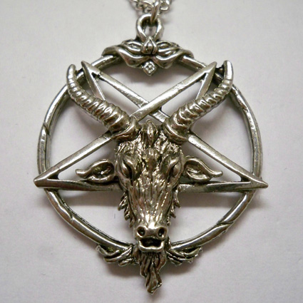 Goat head inverted pentacle necklace nk546 999 mystic crypt goat head inverted pentacle necklace aloadofball