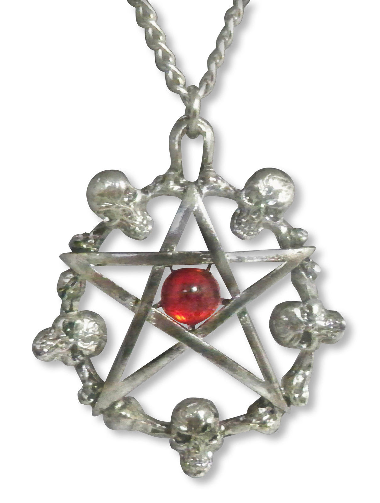 Skulls Around Pentagram w Red Cabochon Necklace