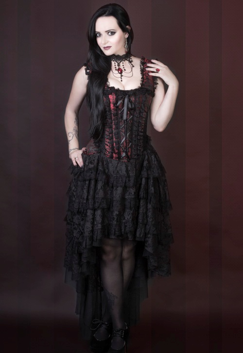 Burleska Plus Size Ophelie Gothic Red King Brocade Corset Dress ...