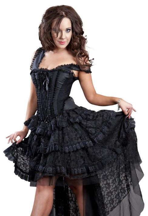 Burleska Plus Size Ophelie Gothic Black Taffeta Corset Dress
