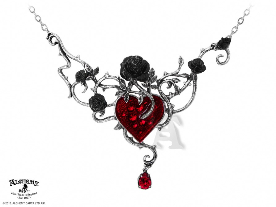 Alchemy Gothic Bed of Blood Roses Pendant Necklace