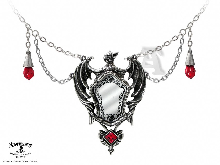 Alchemy Gothic Drakuls Bat Mirror Pendant Necklace