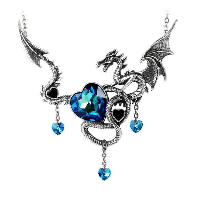 Alchemy Gothic Draig O Gariad Dragon Heart Pendant Necklace