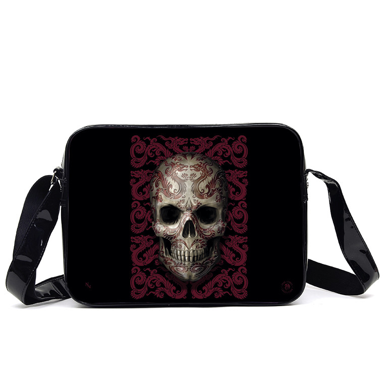 Gothic Black and Red Oriental Skull Side Bag by Anne Stokes