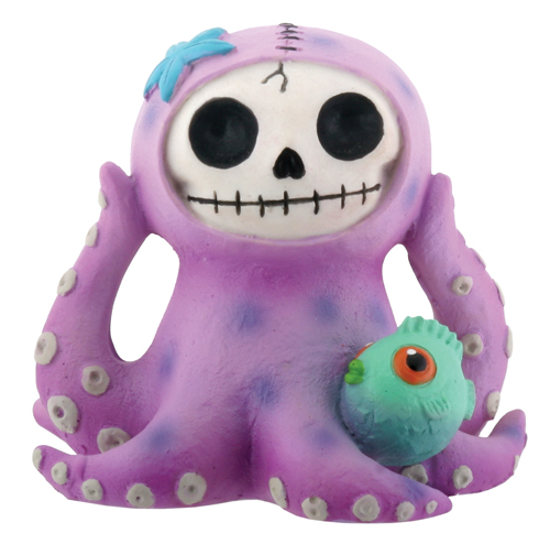 Purple Octopee Furry Bones Skellies Figurine
