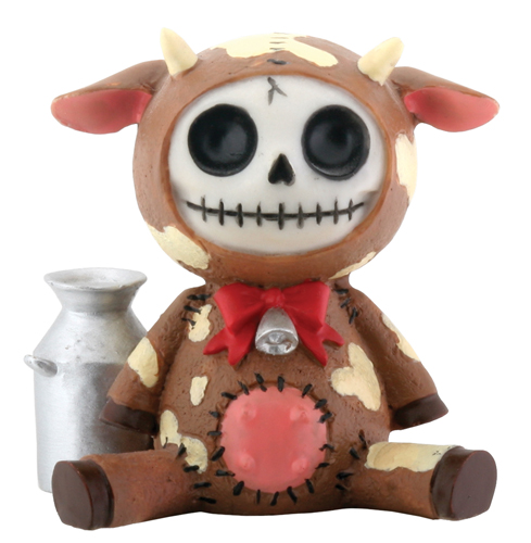 Brown Moo Moo Furry Bones Skellies Figurine