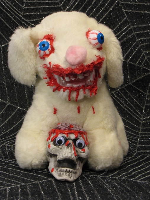 Vampire Dog Eating Small Skeletons Brain Scare Bear
