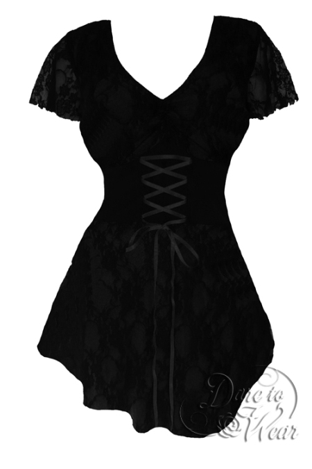 Plus Size Black Lace Sweetheart Corset Top