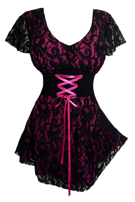 Plus Size Fuchsia and Black Lace Sweetheart Corset Top