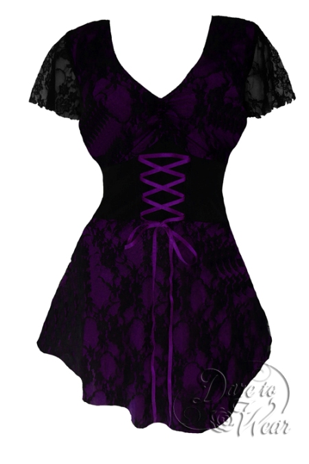 Plus Size Purple and Black Lace Sweetheart Corset Top - Click Image to Close