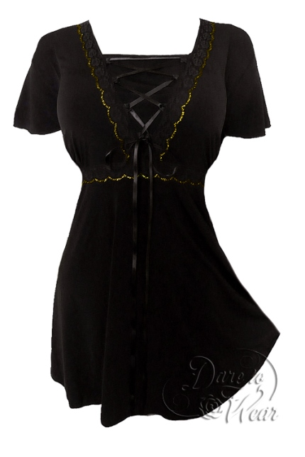 Plus Size Black Angel Corset Top in Black and Gold
