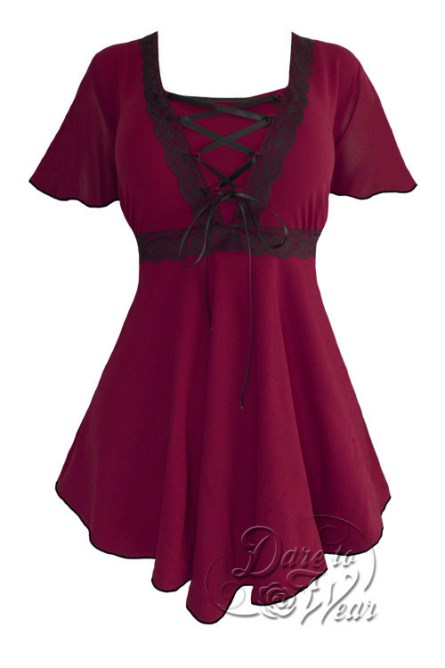 Plus Size Burgundy Angel Corset Top in Burgundy and Black Lace