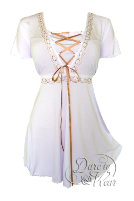 Plus Size White Angel Corset Top in White and Gold