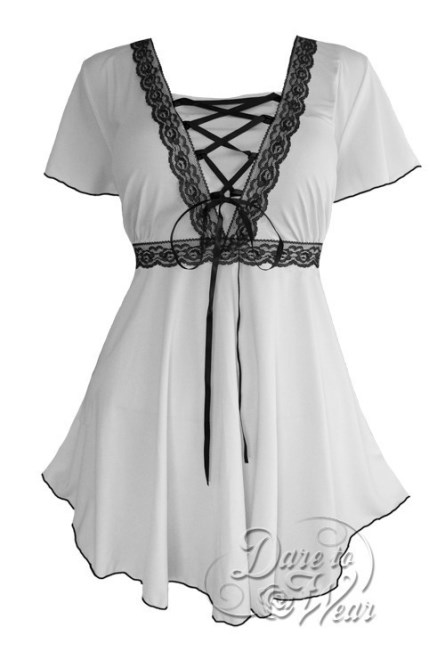 Plus Size White Angel Corset Top in White and Black Lace