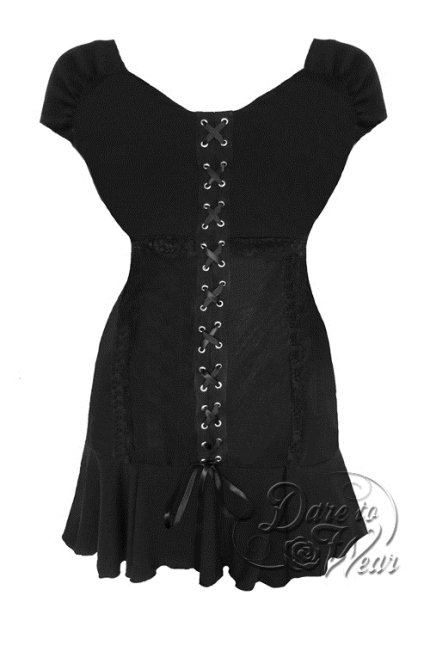 Jr. Plus Size Gothic Sleeveless Cabaret Corset Top in Black