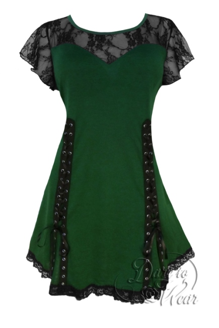 Plus Size Gothic Green and Black Lace Roxanne Corset Top in Green Envy