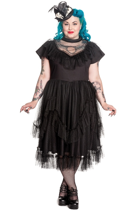 Spin Doctor Plus Size Black Gothic Lace Augustine Dress
