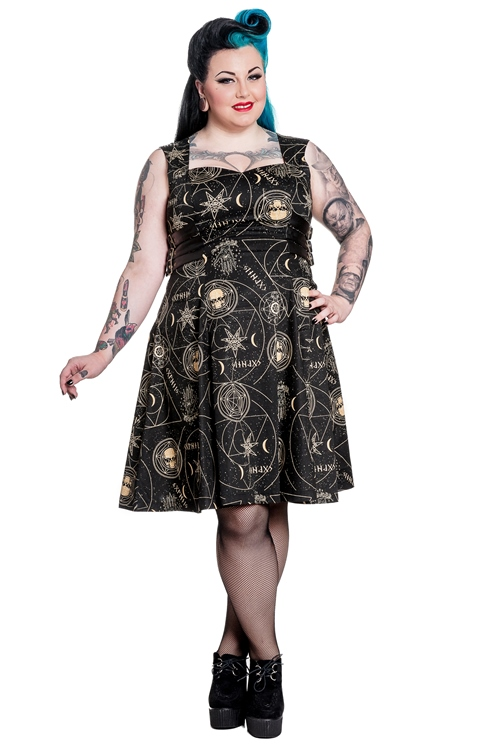 Spin Doctor Plus Size Pentagram and Skull Gothic Tabitha Dress ...