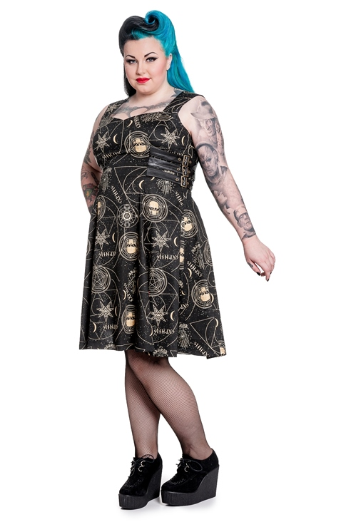 37af6c11877 Spin Doctor Plus Size Pentagram and Skull Gothic Tabitha Dress ...