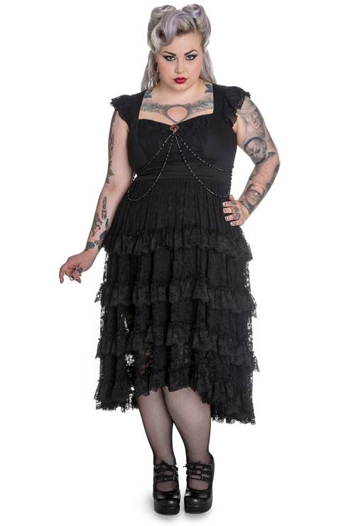 Spin Doctor Plus Size Black Gothic Lace Vampire Ophelia Dress