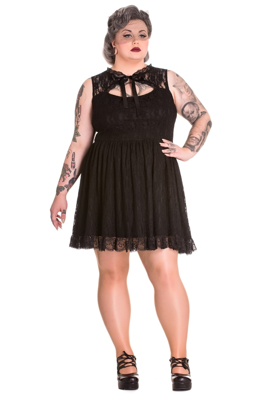 Spin Doctor Plus Size Black Gothic Lace Selena Rose Mini Dress ...