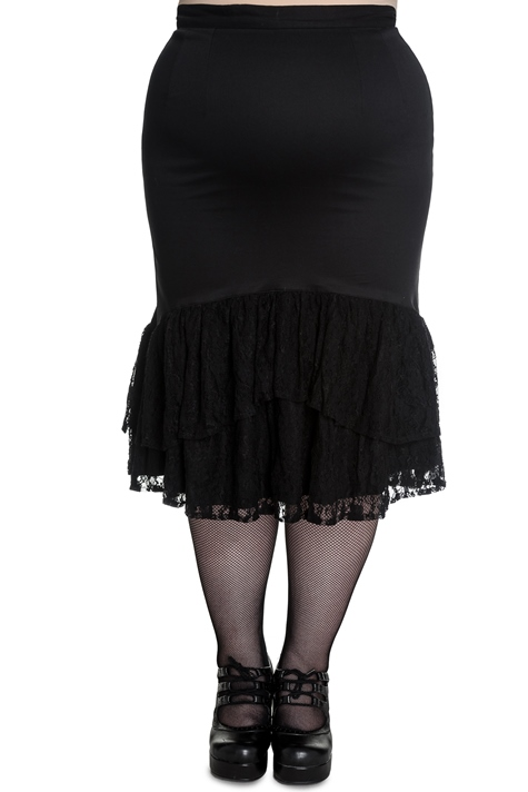 Spin Doctor Plus Size Black Gothic Lace Celeste Skirt