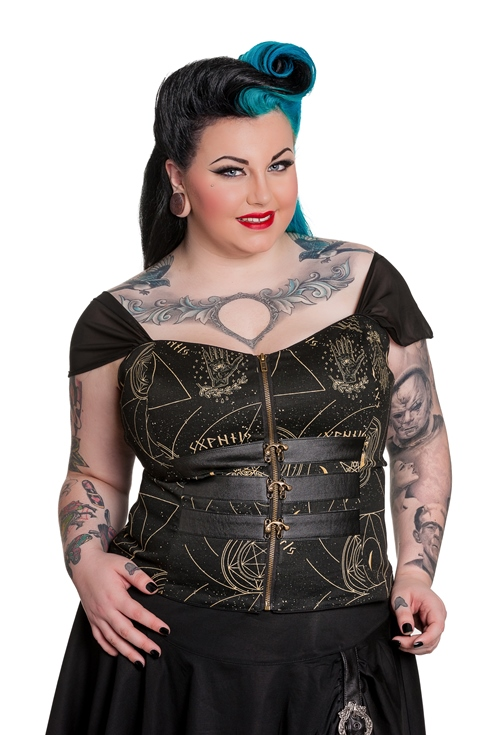 Spin Doctor Plus Size Pentagram and Skull Gothic Buckle Corset