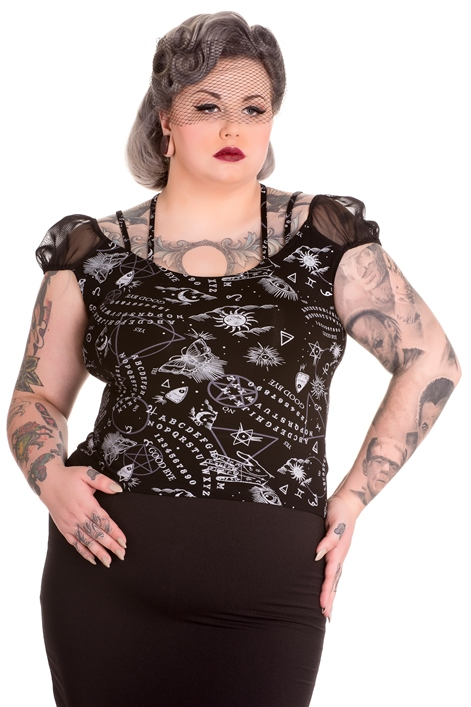 Spin Doctor Plus Size Gothic Ouija Sun Moon Eye Dark Magic Top