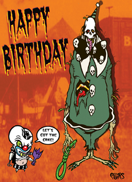 Happy Birthday Monster Clown Noose Toxic Toons Spooky Greeting