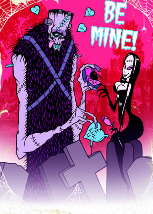 Be Mine with Spider Ring Toxic Toons Spooky Greeting Card