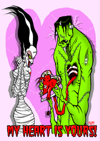 My Heart is Yours Toxic Toons Spooky Greeting Card
